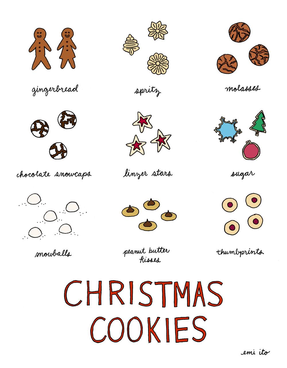 christmas cookies - emi ito illustration