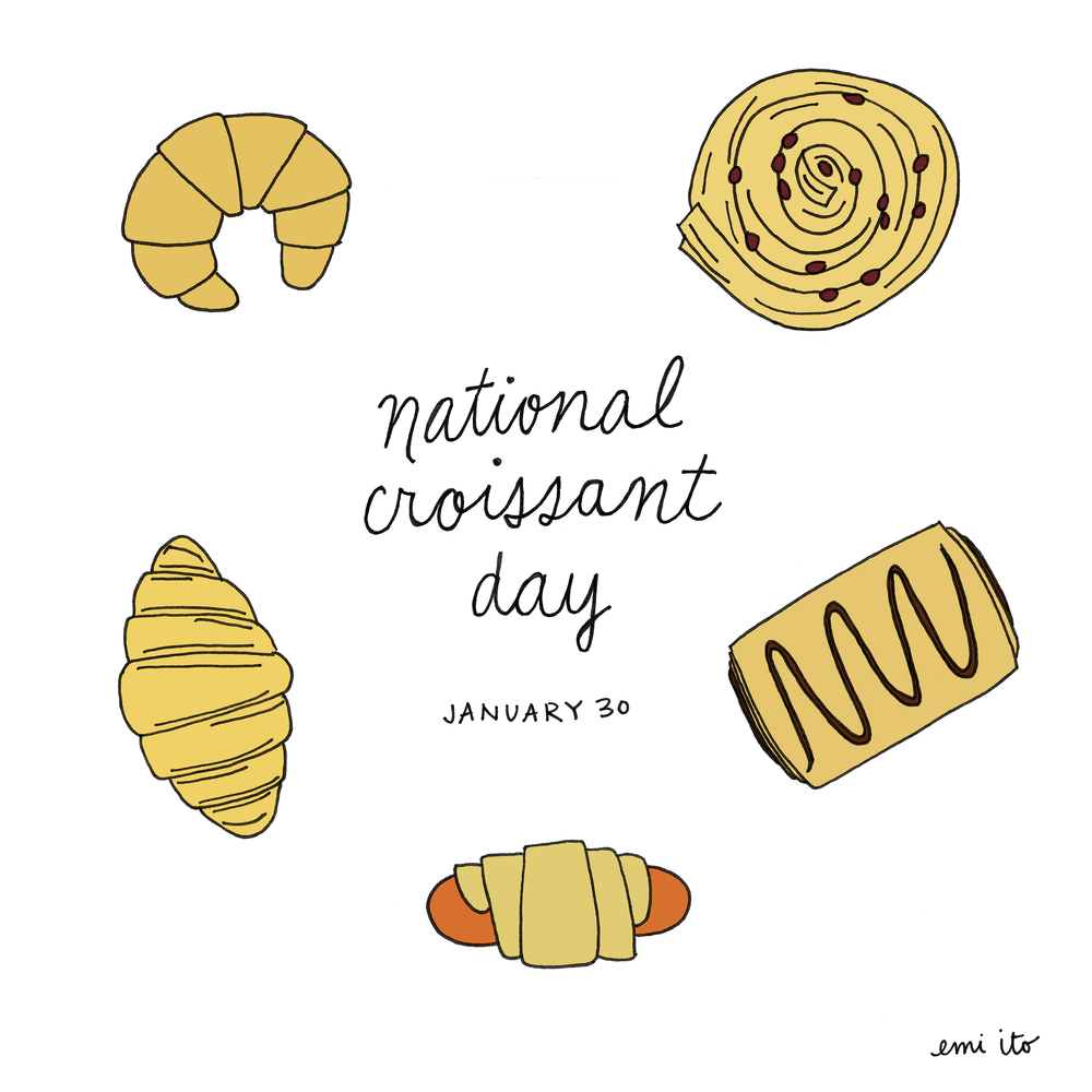 national croissant day - emi ito illustration