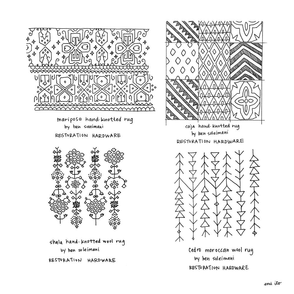 restoration hardware rug patterns - emi ito illustration