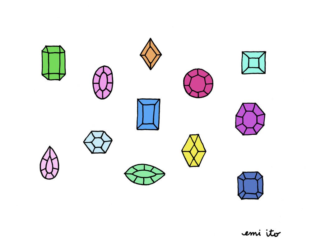 gemstones - emi ito illustration