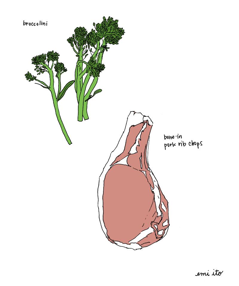 broccolini & pork chops - emi ito illustration