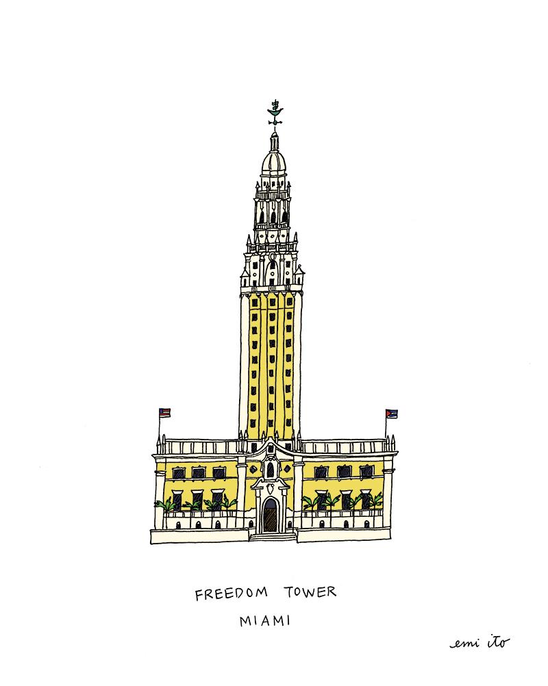 Miami Freedom Tower - emi ito illustration
