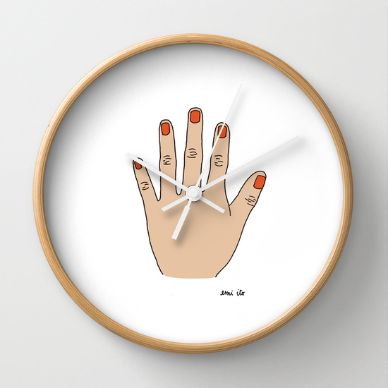 Painted Nails Wall Clock - emi ito illustration