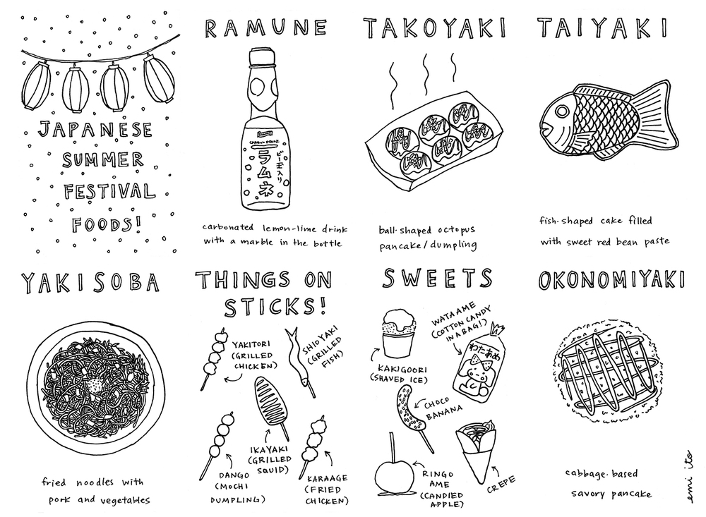 Japanese Festival Foods Zine - emi ito illustration