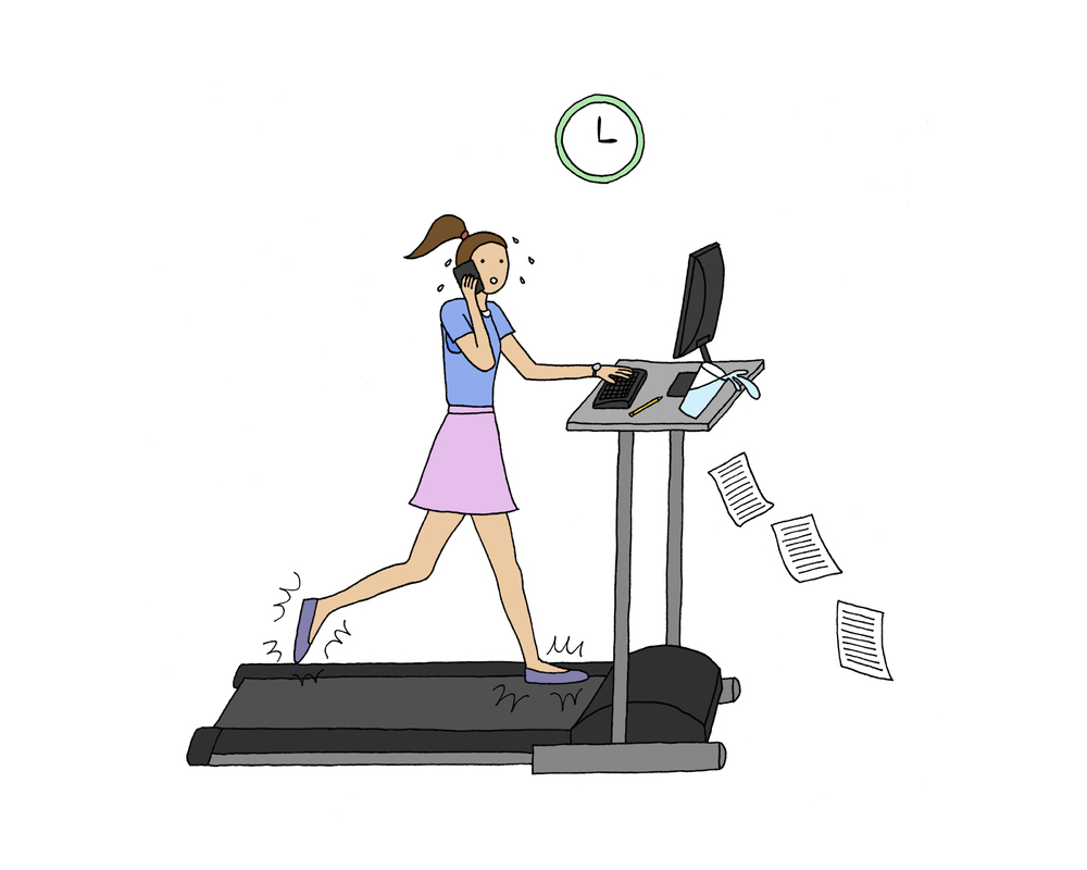 Treadmill Desk - emi ito illustration