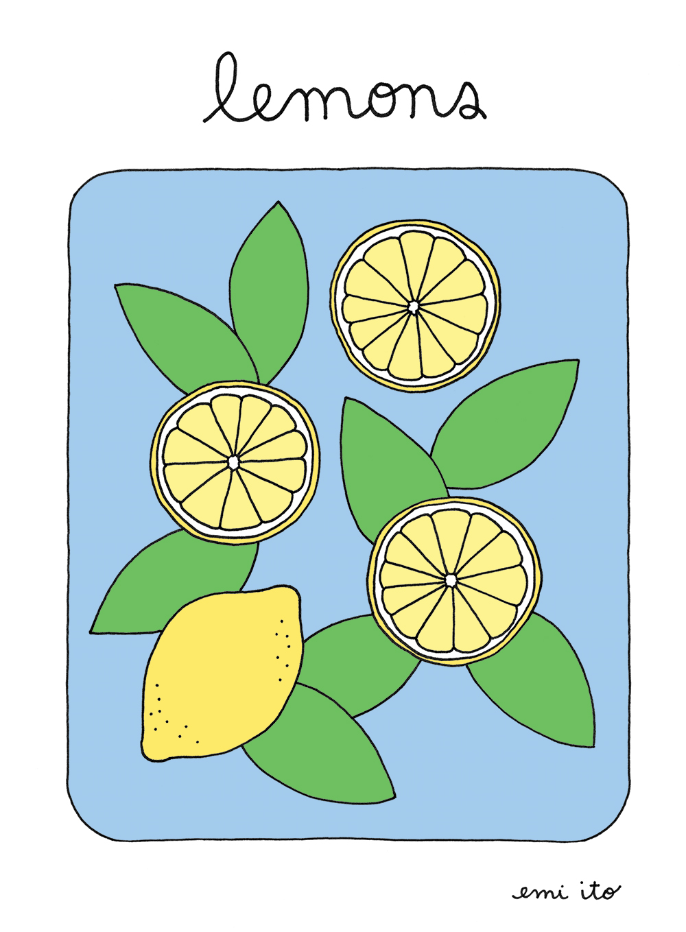 Lemons Print - Dark - emi ito illustration