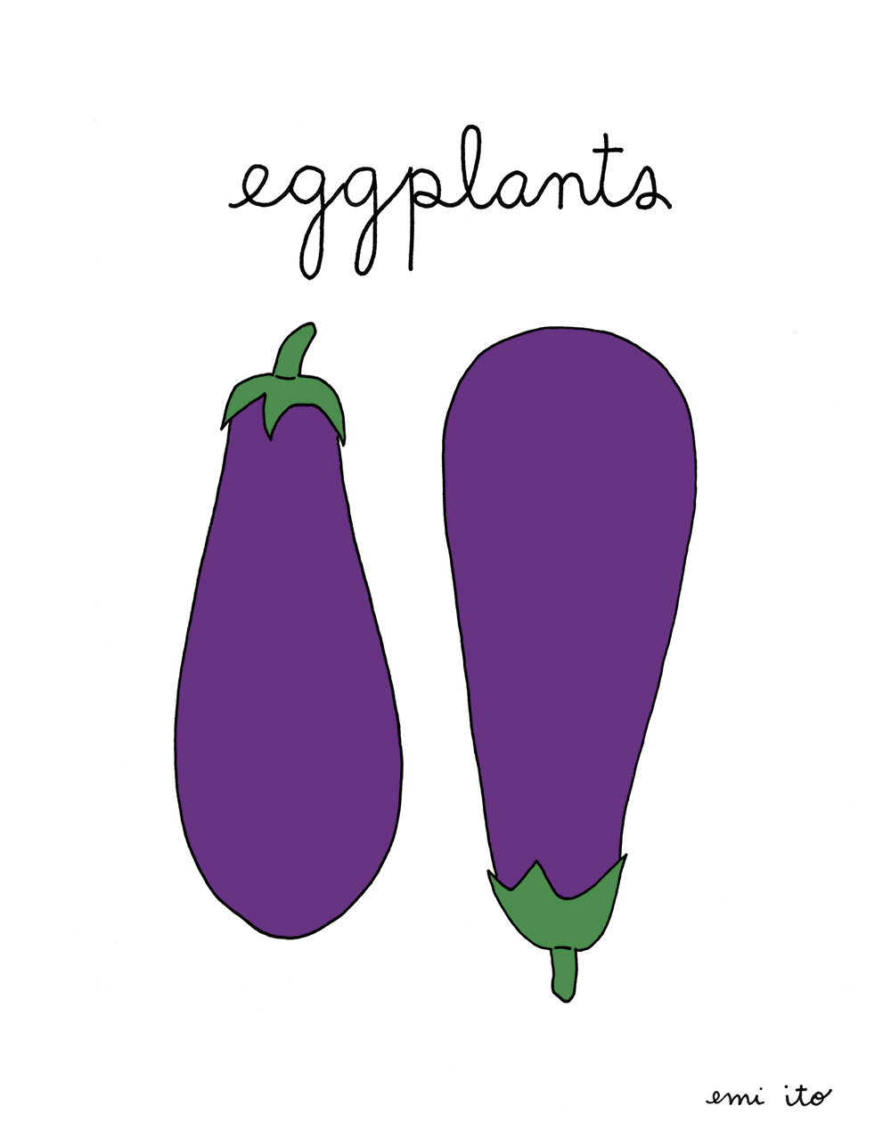 eggplants - emi ito illustration