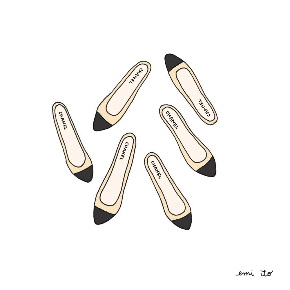 chanel flats - emi ito illustration