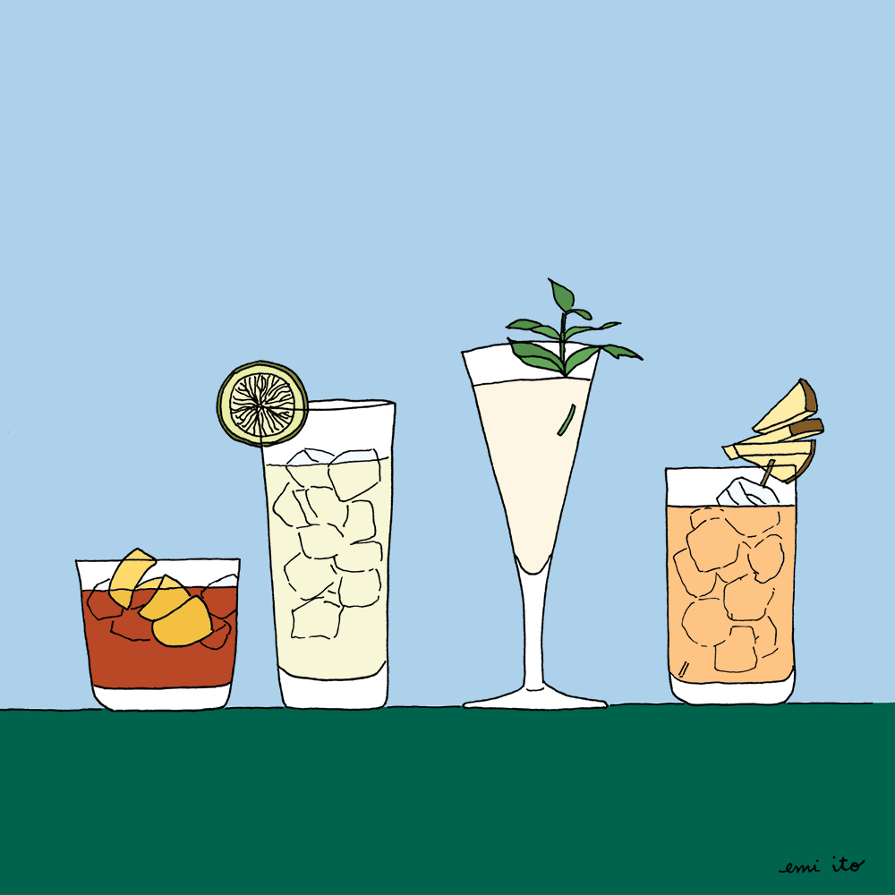drinks in line - emi ito illustration