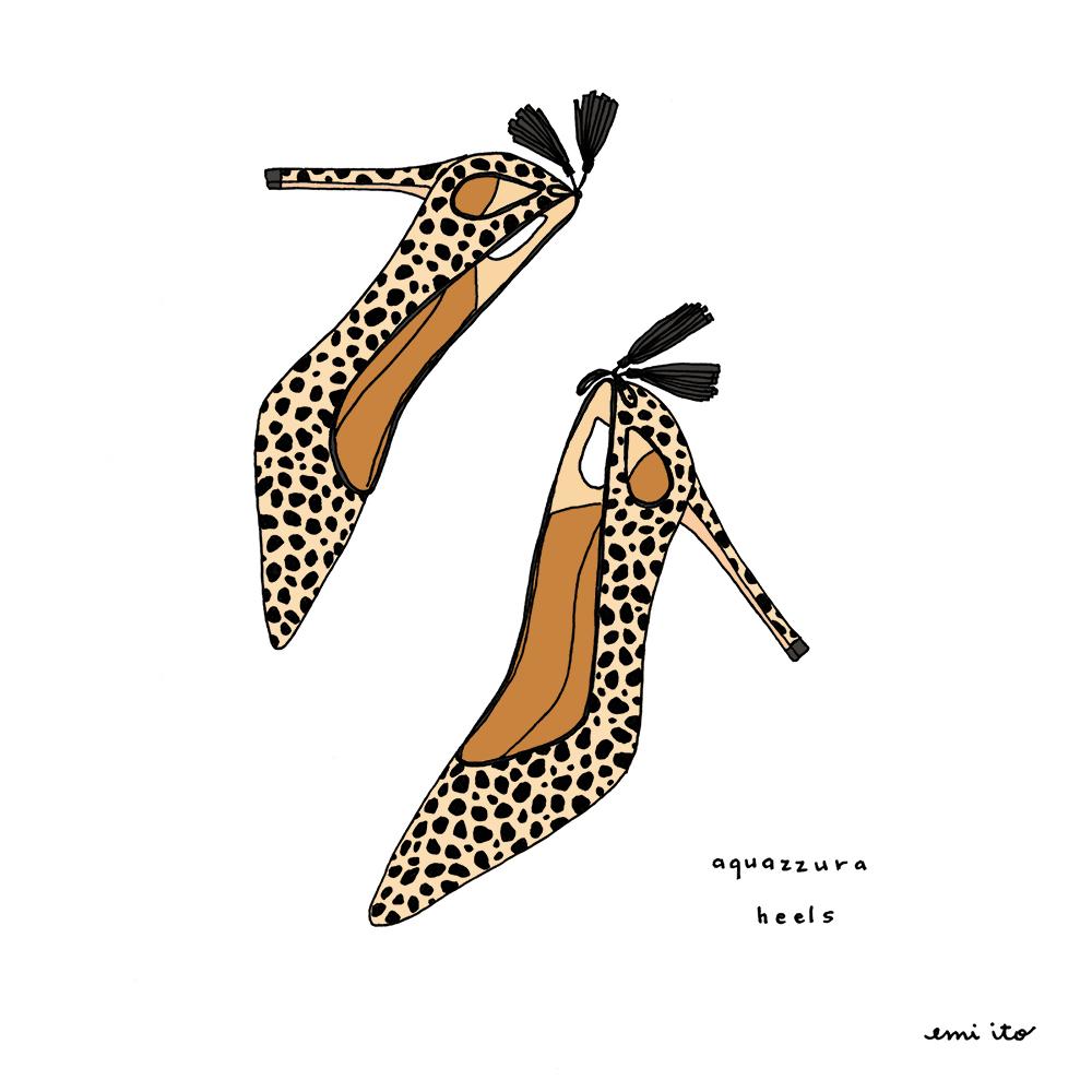 aquazzura leopard print heels - emi ito illustration