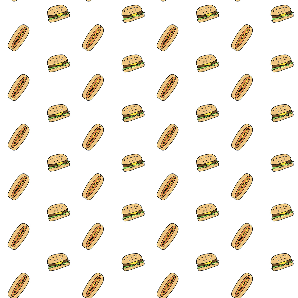 hamburgers & hot dogs - emi ito illustration