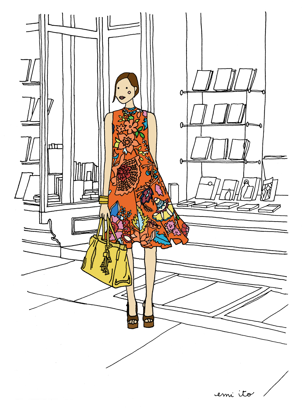 anthropologie in front of bookstore - emi ito illustration
