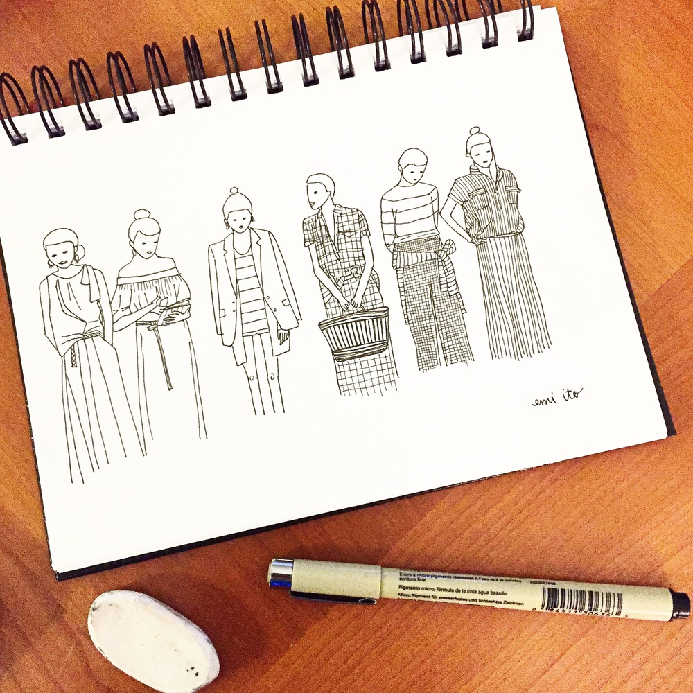 JCrew NYFW 2015 - emi ito illustration