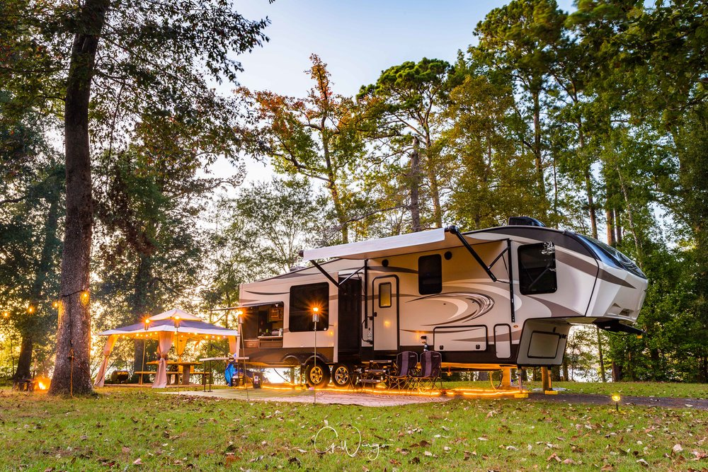 A shot of the RV as the sun sets over Martin Dies, Jr. State Park outside of Jasper, TX.  October 26, 2017.