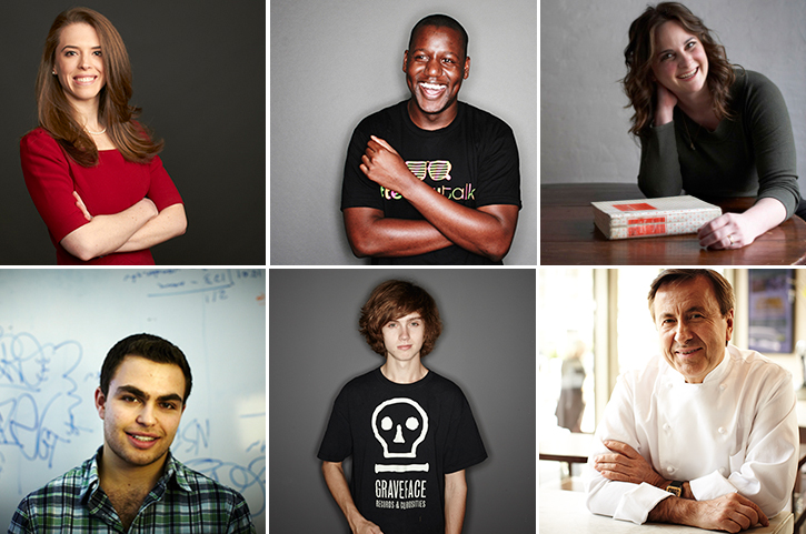 Top:  Financial services, Event Tech, Writer.  Bottom:  Software Developer, Skateboarder, Chef.
