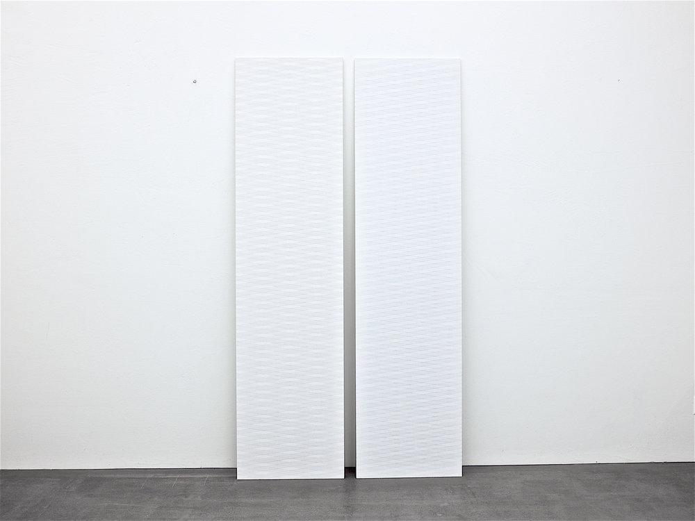 bild nr. 09/2014 & 10/2014 - je 50 x 200cm - acryl auf baumwolle/alu