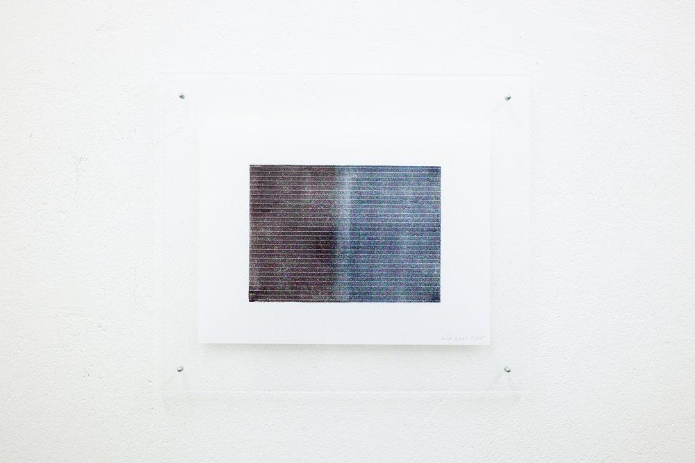 monotypie nr. 01/2015 - 15 x 21cm - kupferdruckfarbe auf japanpapier in sandwich-acrylglasrahmen