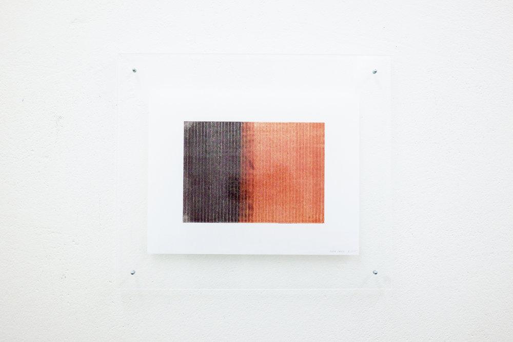 monotypie nr. 04/2015 - 15 x 21cm - kupferdruckfarbe auf japanpapier in sandwich-acrylglasrahmen