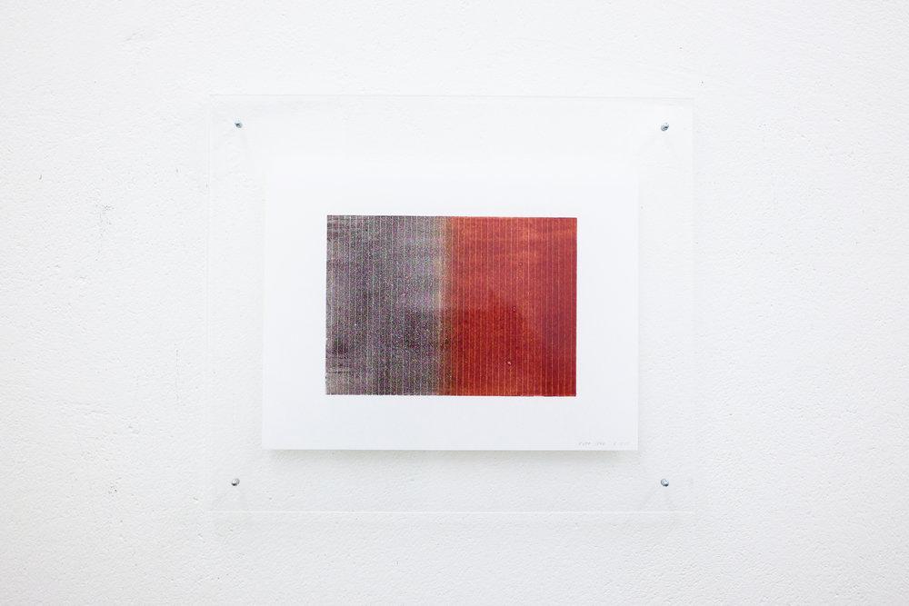 monotypie nr. 03/2015 - 15 x 21cm - kupferdruckfarbe auf japanpapier in sandwich-acrylglasrahmen