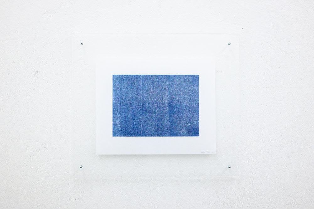 monotypie nr. 05/2015 - 15 x 21cm - kupferdruckfarbe auf japanpapier in sandwich-acrylglasrahmen