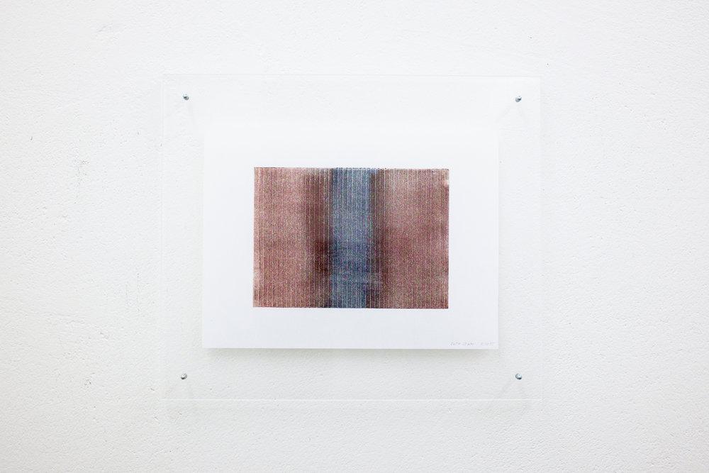 monotypie nr. 06/2015 - 15 x 21cm - kupferdruckfarbe auf japanpapier in sandwich-acrylglasrahmen