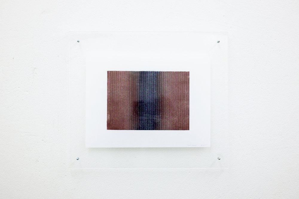 monotypie nr. 07/2015 - 15 x 21cm - kupferdruckfarbe auf japanpapier in sandwich-acrylglasrahmen