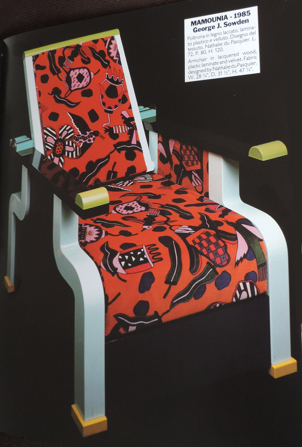 Mamounia Chair for Memphis Milano 1985. Image (c) Memphis Milano 1991