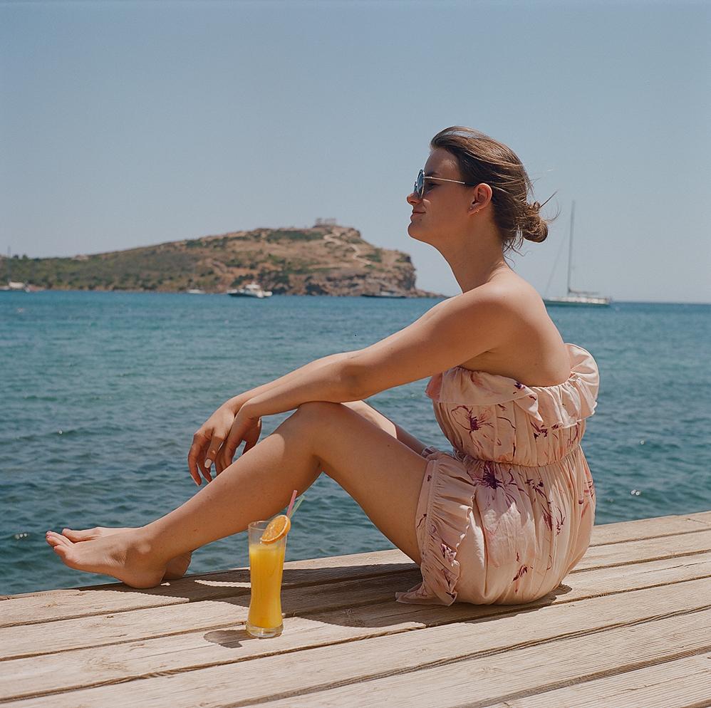 Cape Sounion Hotel, view to Temple of Poseidon, Greece