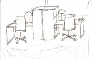 A sketch of new office workstation by PJ Mehaffey