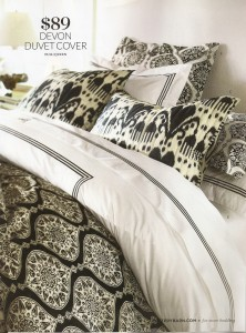 A pic of new black and white bedding from Pottery Barn