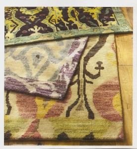 A pic of new Ikat rugs at Pottery Barn