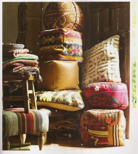 A pic of new kilim cubes and floor cushions from Pottery Barn