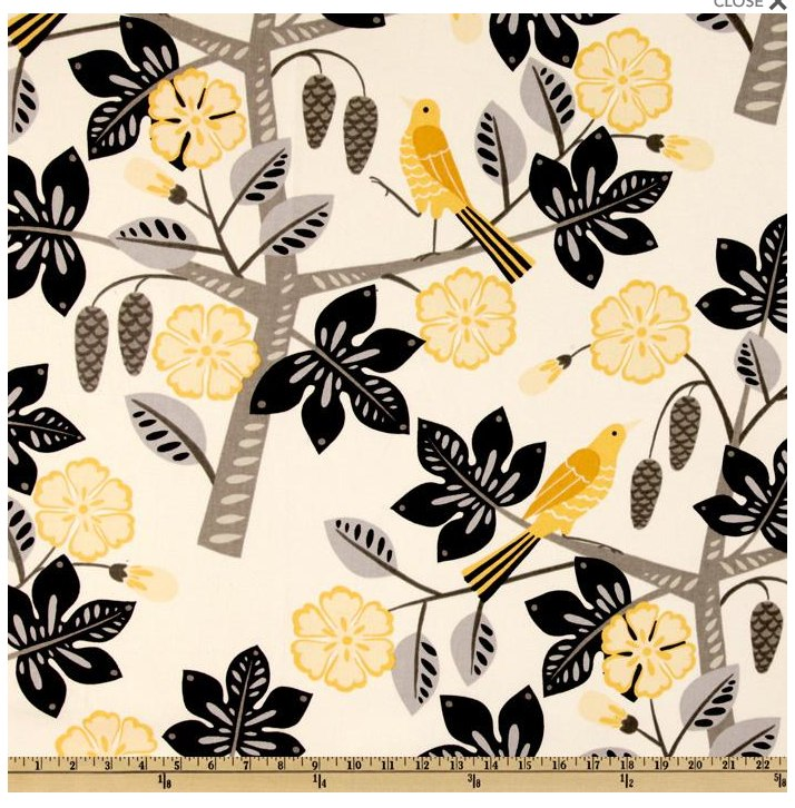 A Waverly graphic floral fabric with black, yellow and gray