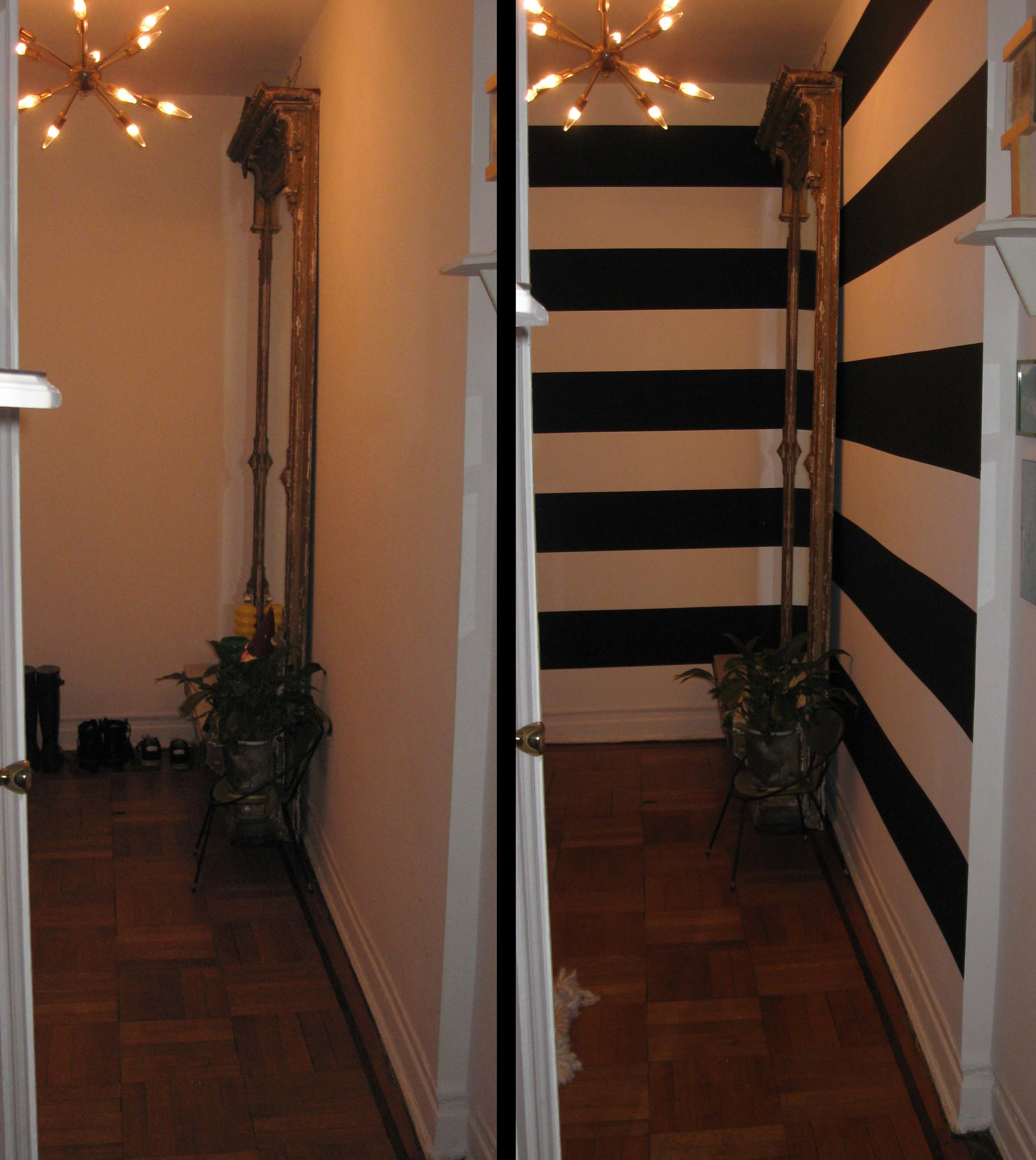 Hallway paint stripes before and after