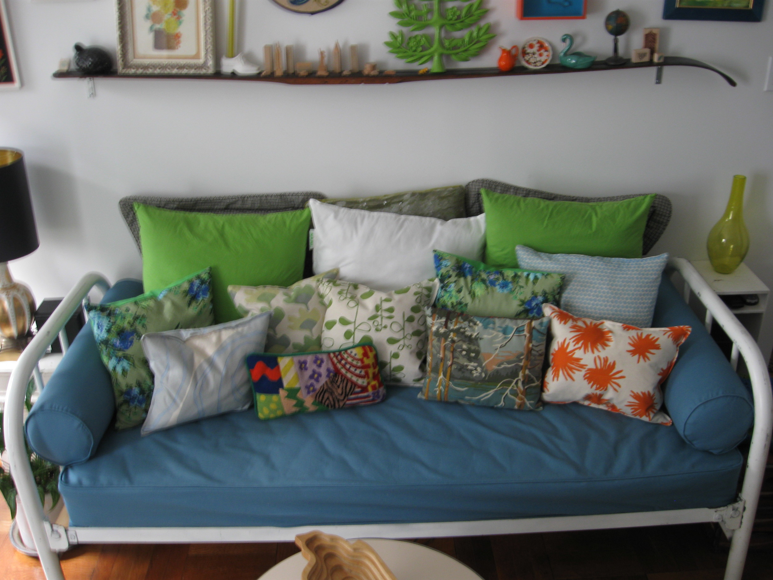 New teal canvas sofa slipcover