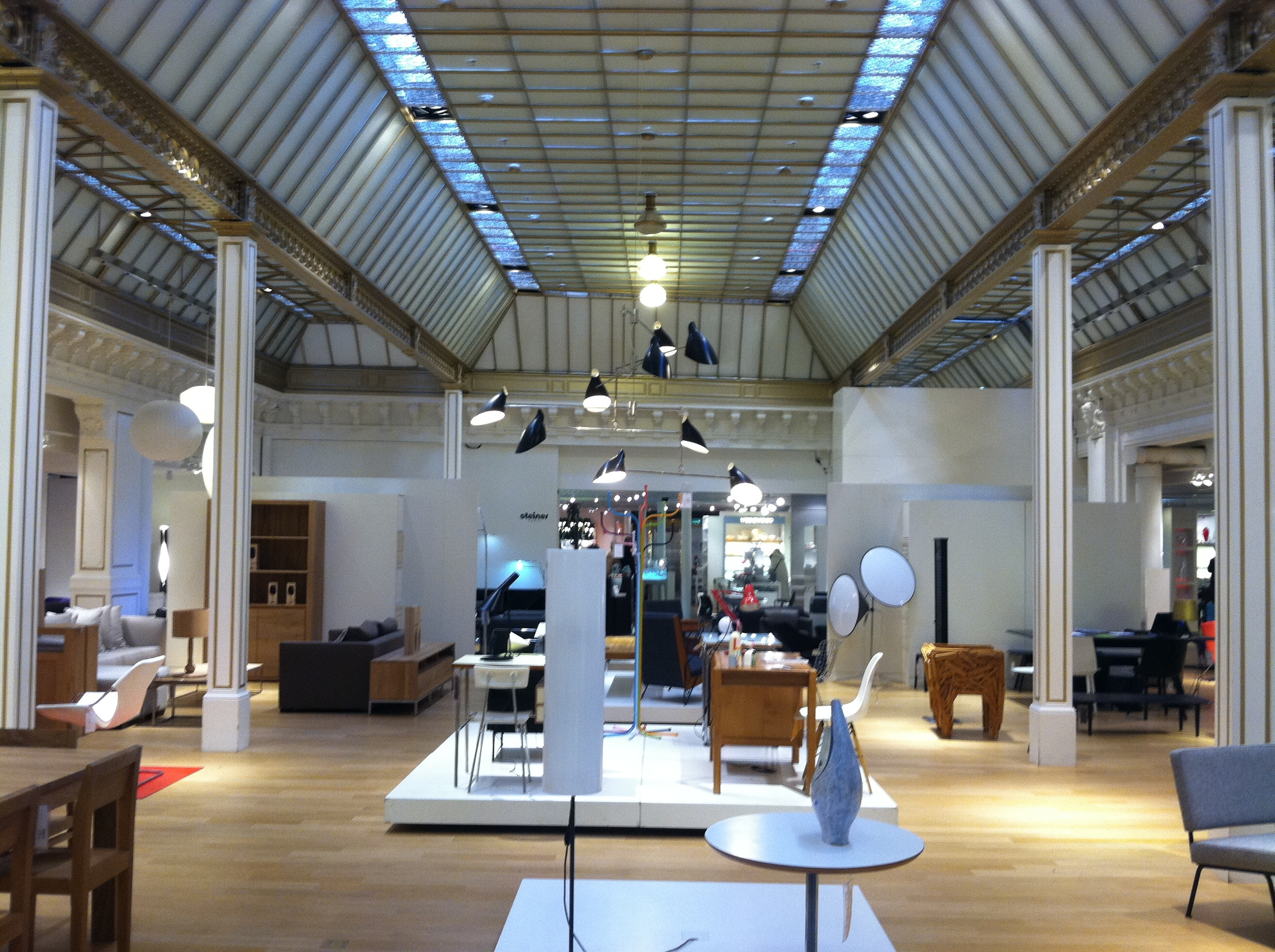 Shot of furniture showroom inside Le Bon Marche in Paris