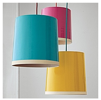 Bright colored drum pendants from Serena & lily
