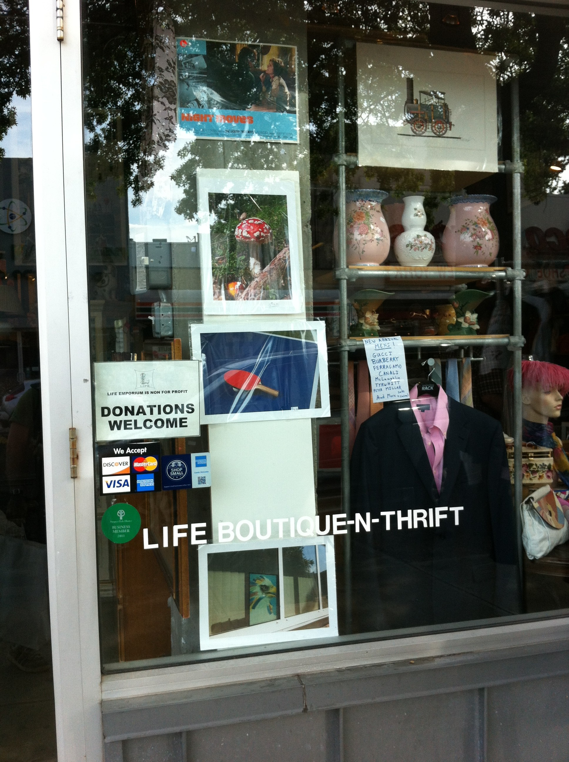 A close-up exterior shot of Life Boutique-N-Thrift in Brooklyn, NY