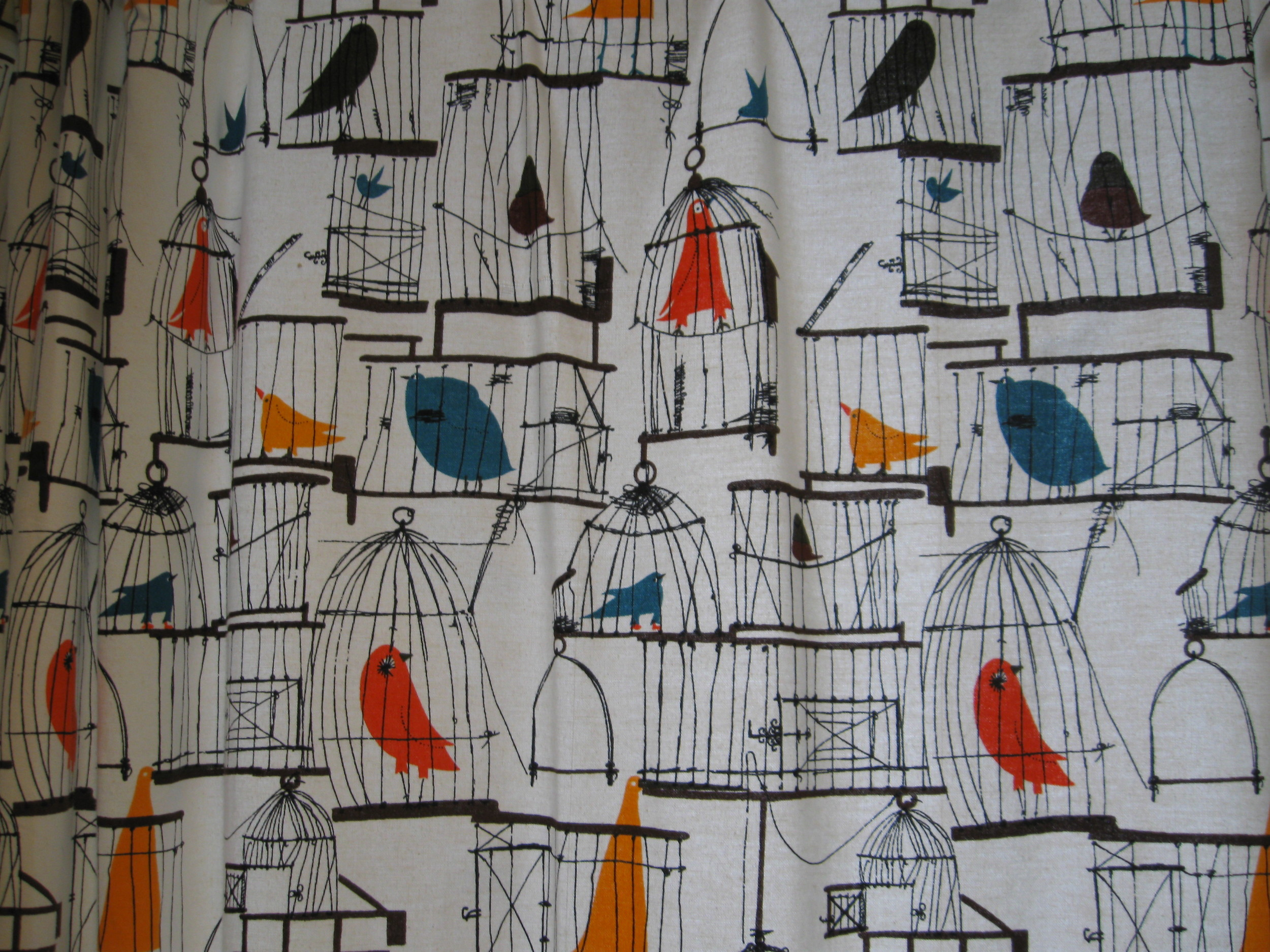 A pic of the bird patterned shower curtain