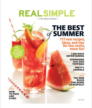An image of the July 2012 cover of Real Simple magazine