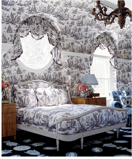 Black and White toile patterned bedroom designed by Anthony Baratta designs