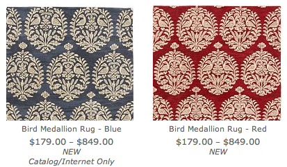 An image of two new medallion rugs at Pottery Barn