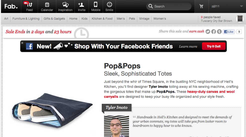 Screen shot of the Pop&Pops Tote bag sale on fab.com
