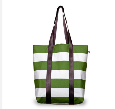Green and white striped tote bag