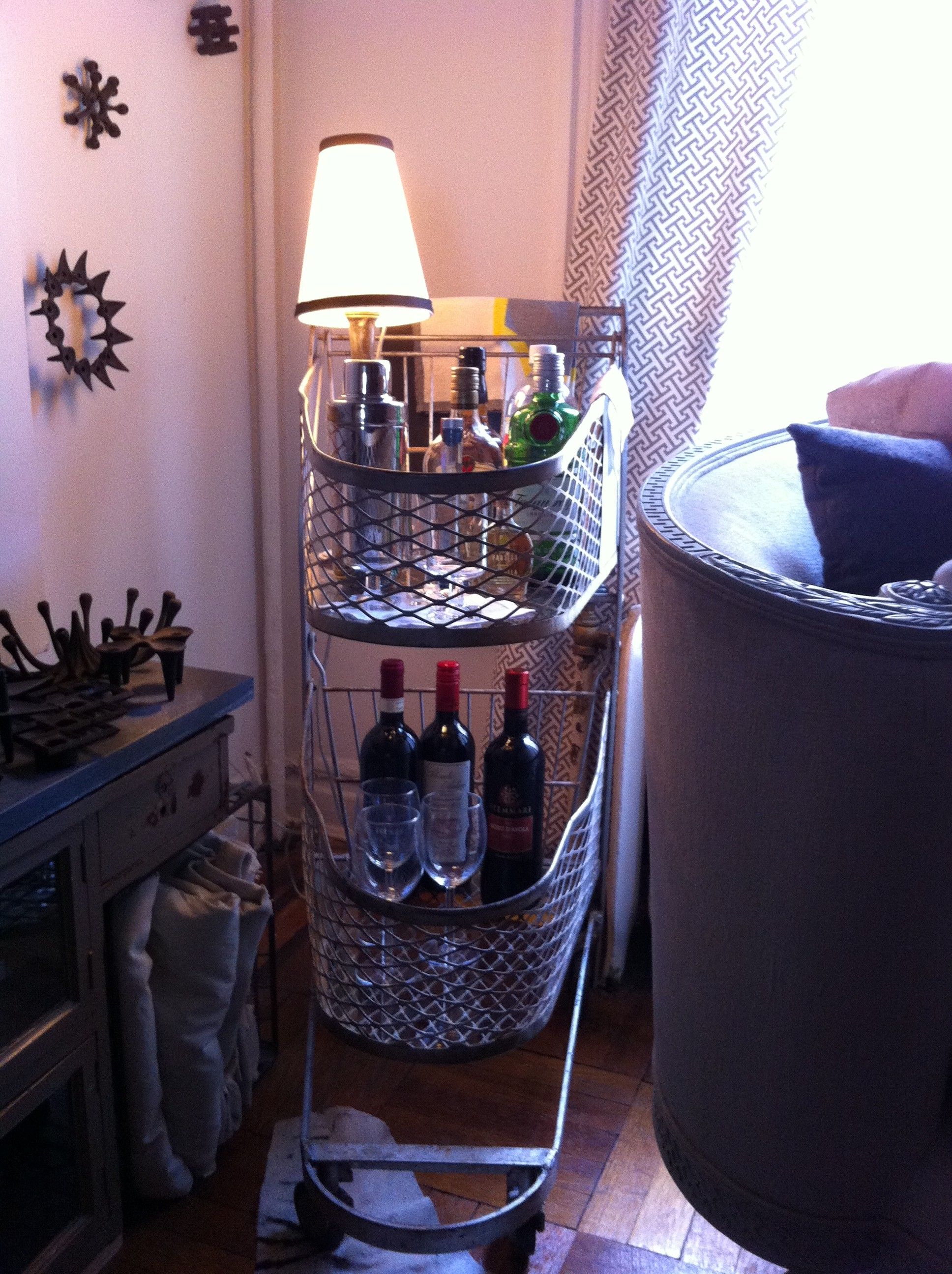 An after pic of a grocery cart turned into a bar cart