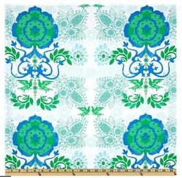 AN image of a bold green and blue patterned fabric