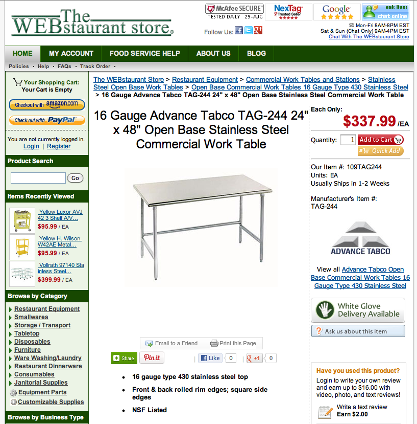 A screen shot of open base restaurant prep table for sale online