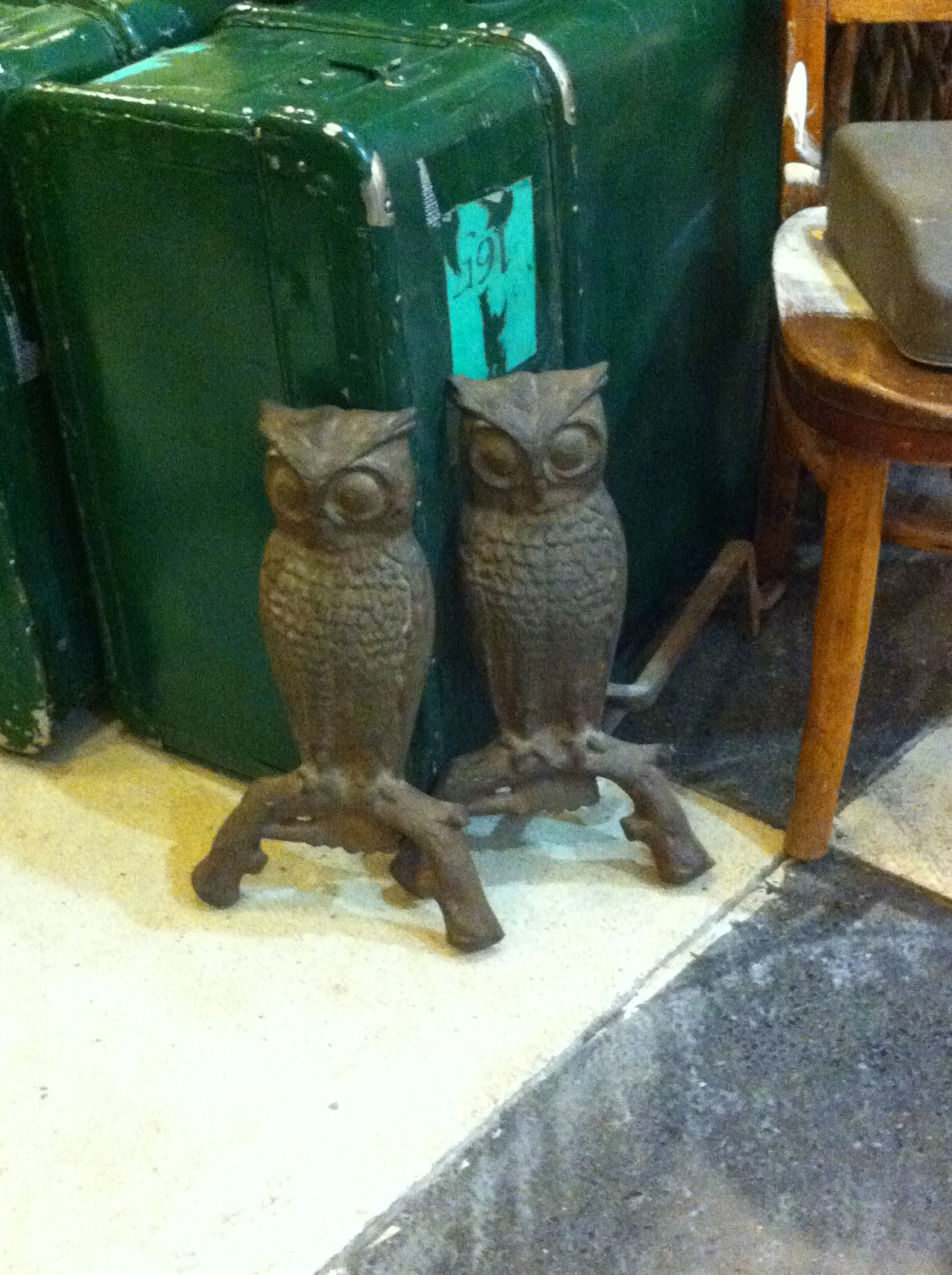 Image of two owl andirons