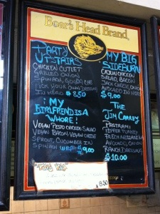 A pic of a menu at a local deli counter in Williamsburg, Brooklyn