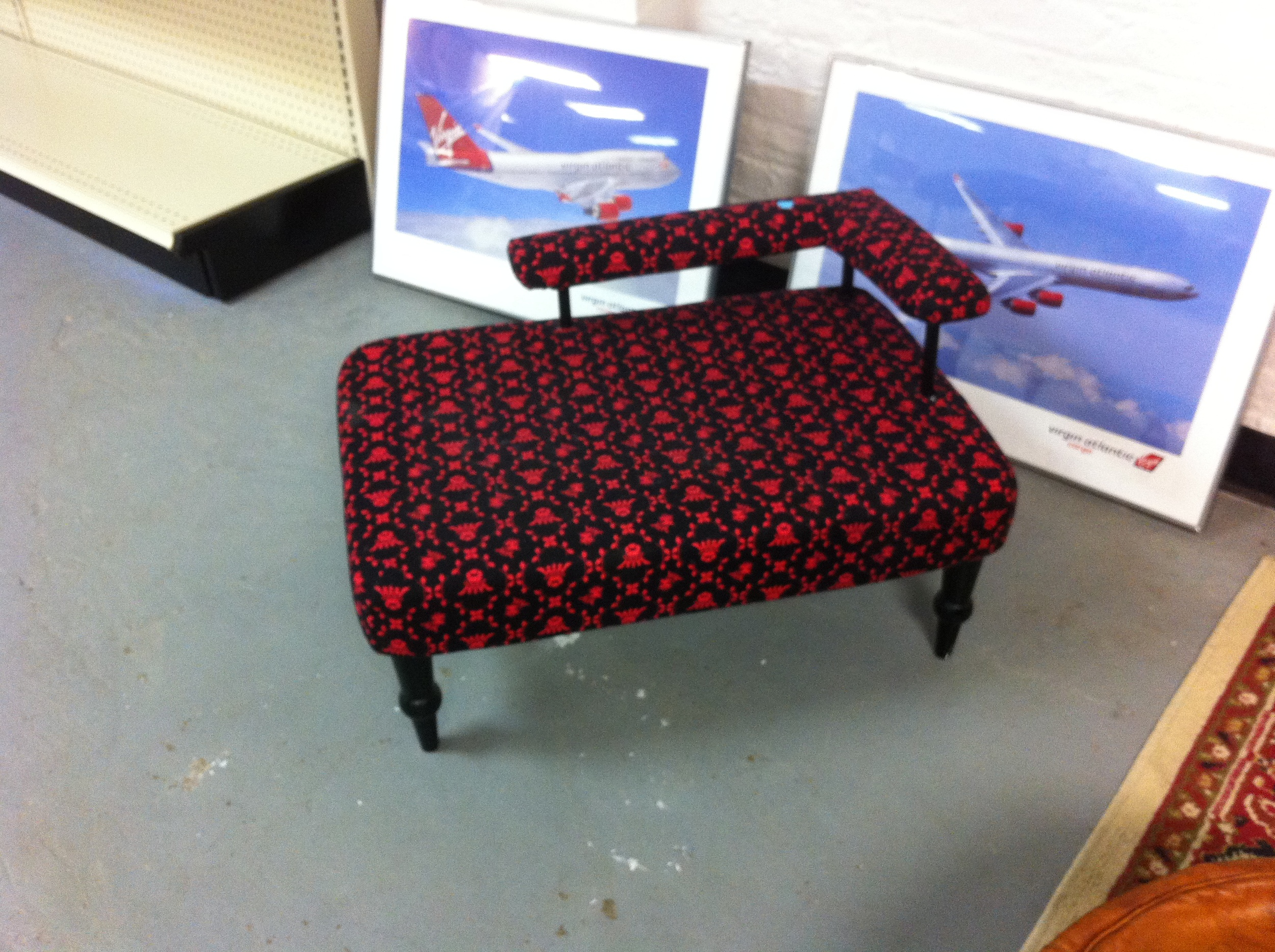 A pic of a fancy doggie bed at the thrift store